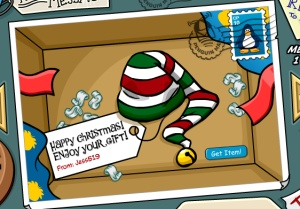 Candy Cane Hat Present Open