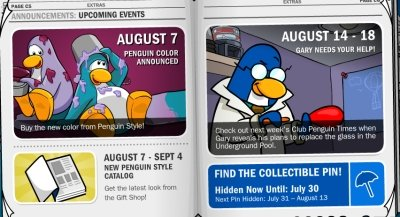 Club Penguin Events for August 2009