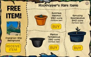 Image of items you can buy at Rockhopper's store