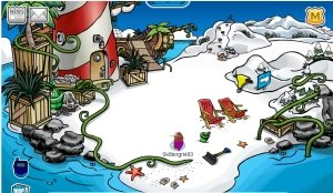 Image of Rockhopper unloading his ship on Club Penguin